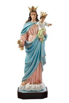Madonna Ausiliatrice  altezza cm. 120 in vetroresina disponibile anche con occhi di vetro sia la Madonna che Gesù Bambino dipinta con colori acrilici e finiture ad olio  http://www.ovunqueproteggimi.com/collezione-statue/madonne/ausiliatrice/