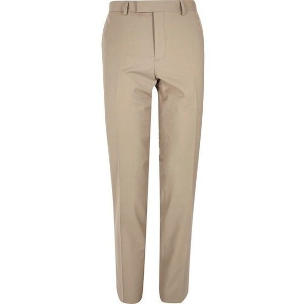 River Island Ecru skinny suit trousers ($39) ❤ liked on Polyvore featuring men's fashion, men's clothing, men's pants, men's dress pants, pants, stone, suits, tall mens dress pants, mens tall pants and mens zipper pants