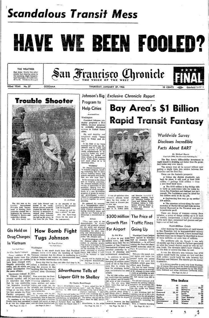 "The Bay Area Rapid Transit planning team had seen costs rise over estimates in the 1960s and by 1966 it was clear the system would need to procure more funds to complete the unprecedented project.  ""Bay Area's $1 billion transit fantasy"" was the story headline that was coupled with a photo of some pretty stylish transit officials in hard hats.  Harris and The Chronicle took a bold approach and provided readers with a point-by-point analysis of the problems that BART faced.  Fifty years…"