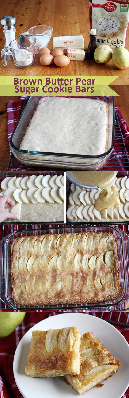"""Browned butter adds a yummy, nutty flavor to these """"pear-fect"""" sugar cookie-crust bars. If you have extra fresh pears on hand, this is a great way to use up the ripe ones. Click through for the step-by-step photos and instructions!"""