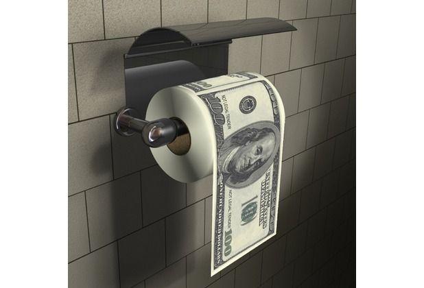 Mit authentisch aussehenden 100 $ Scheinen, ist dieses Toilettenpapier das ideale Geschenk für Menschen, die täglich den Traum haben, im Geld zu schwimmen. #Toilette #Toilettenpapier #Geschenk #Geschenkidee #Rolle #Dollar #Scheine #Hertie  Thumbs Up