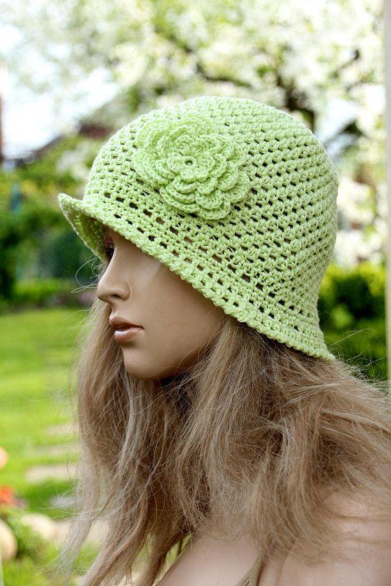 be4868d0b57 Lime green hat Sun cloche Summer hat Garden Hat Crochet Boho Hat