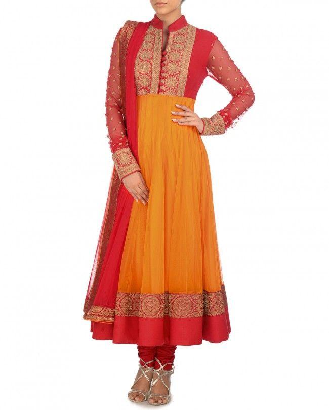 Tangerine and Red Anarkali Suit with Embellished Yoke - Sanchit Mehra - Designers