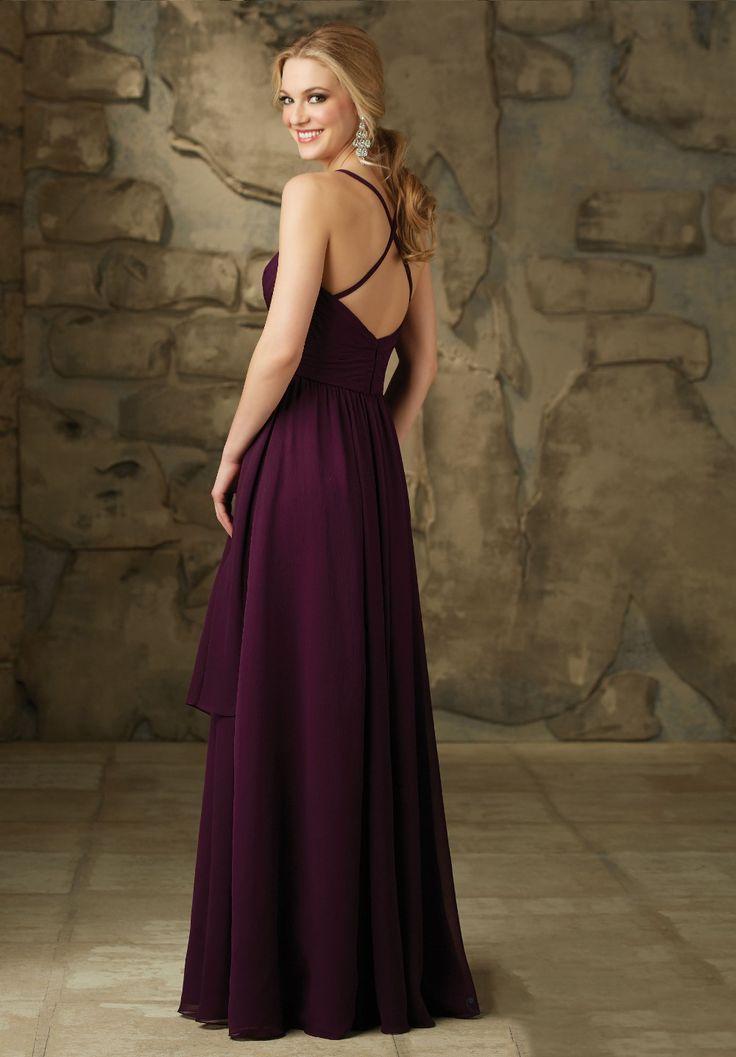 Traje de Demoiselle D'honneur de espagueti de la gasa barato largo de color púrpura oscuro dama de honor 2016 Criss Cross volver partido del vestido B53 en Vestidos de dama de honor de Bodas y Eventos en AliExpress.com | Alibaba Group