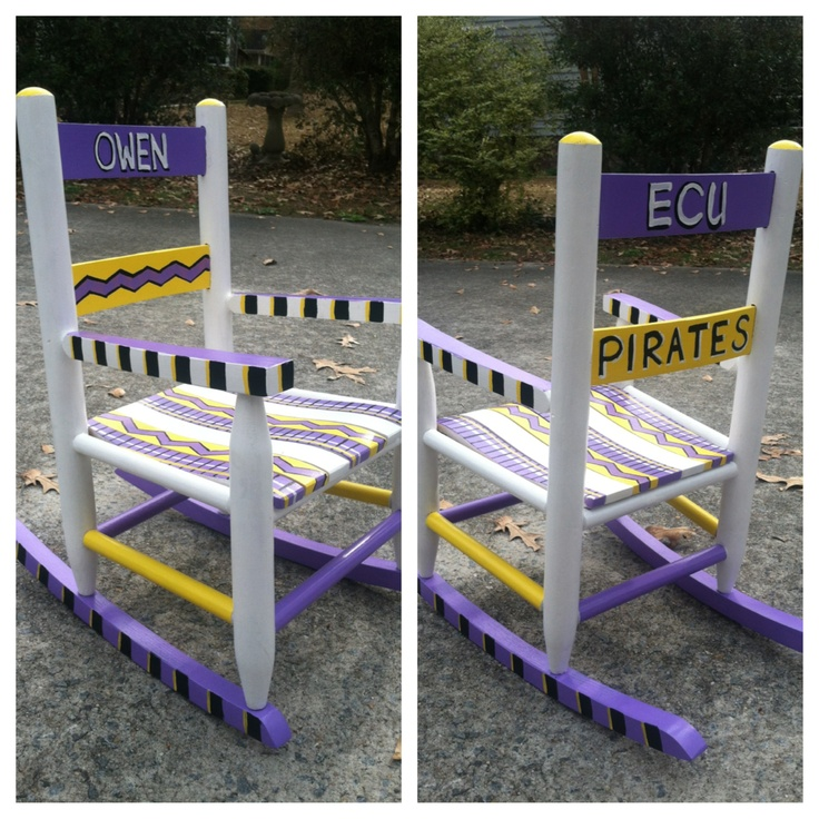 Hand-painted baby rocker. Great baby shower gift! Parents are alumni of ECU (East Carolina University). College colors: Purple and gold (or yellow).