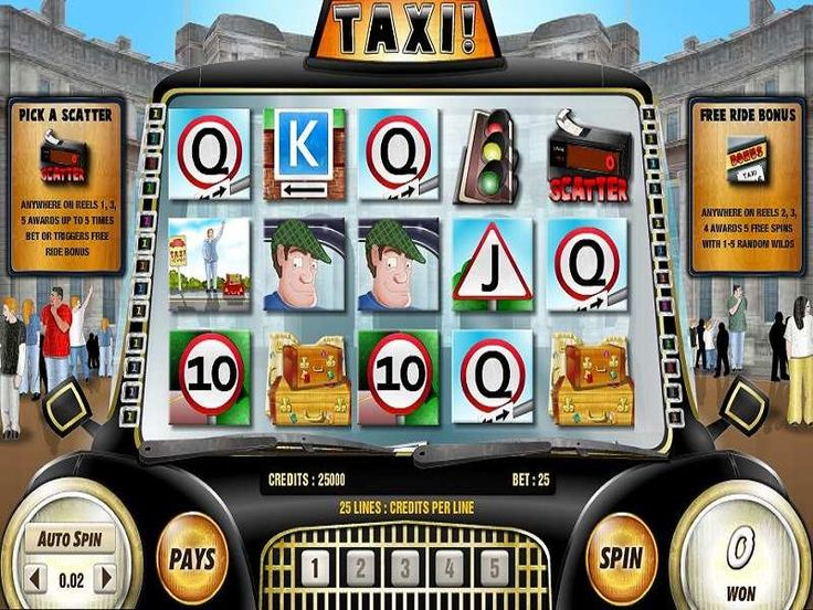 Catch a Taxi  Online Taxi slot machine is a 5 reels and 25 fixed paylines title where the slot plays from the left to the right. Players start their journey by wagering a fixed bet on the 5 bet lines with a minimum of €0.01 and a maximum acceptable per spin bet of €25. http://free-slots-no-download.com/aristocrat/9871-taxi/