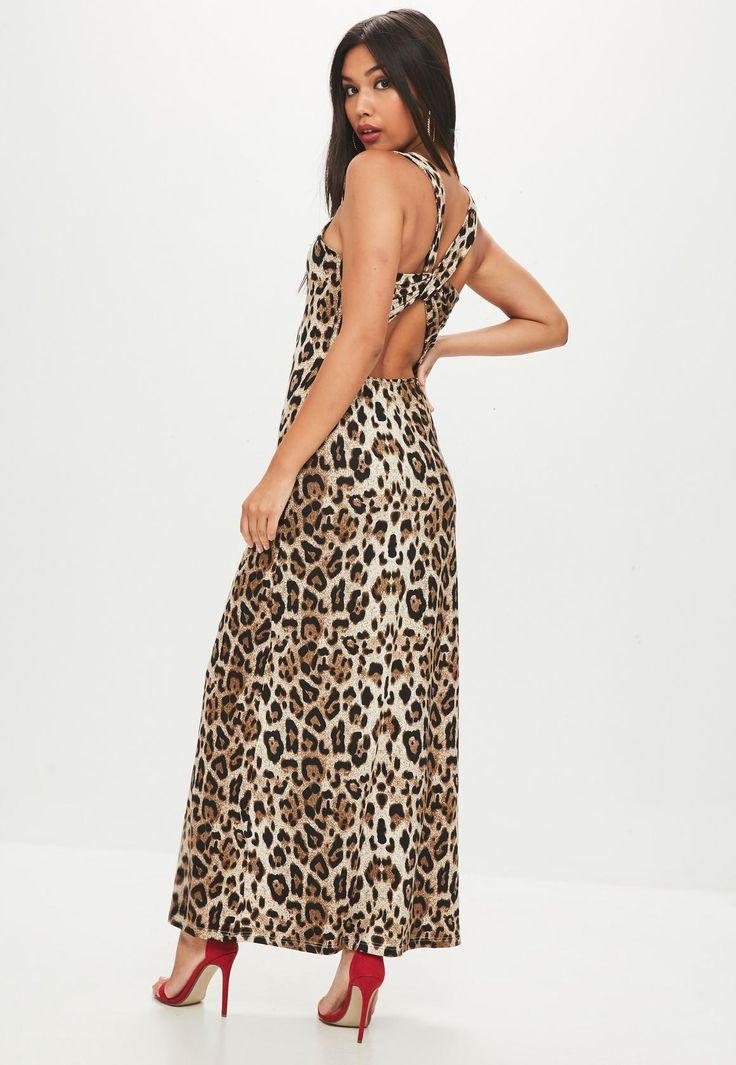 Missguided - Brown Leopard Maxi Dress