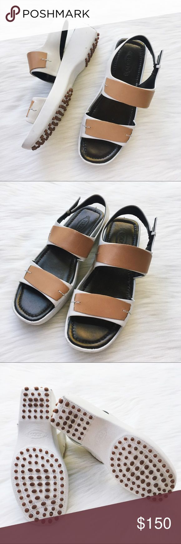 TODS Leather Slingback Sandal Very good condition, two very very small spots shown in last photo. Please inspect photos carefully. Tod's Shoes Sandals
