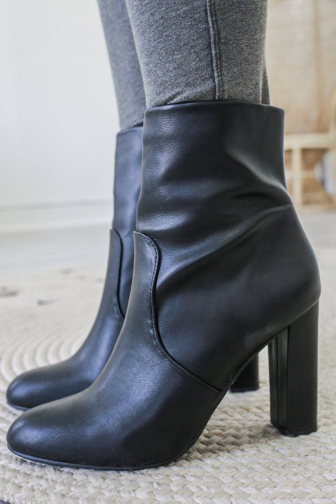 45f476297faf ROMAN Faux Leather Mid Calf Booties - Online Clothing Boutique