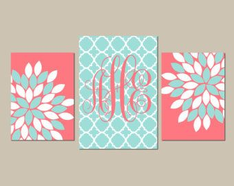 Beach Decor THREE Flower Wall Art Coral and Aqua by bedbuggs