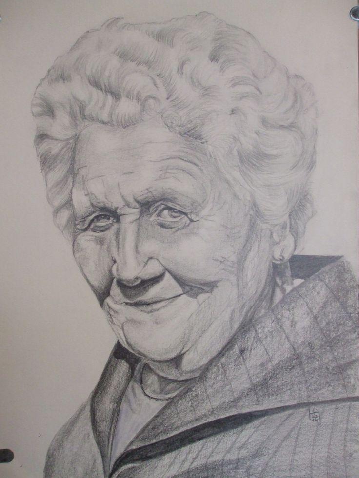 Nagymama, A4 ceruza rajz