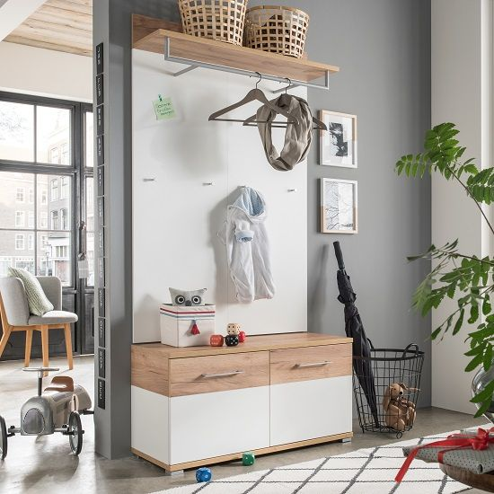 Zanotti Wooden Hallway Furniture Set 1 In White And Oak 2881  #furnitureinfashion #hallway #shoecabinet #shoestorage #hallway storage #modernhallway #interiordesignideas