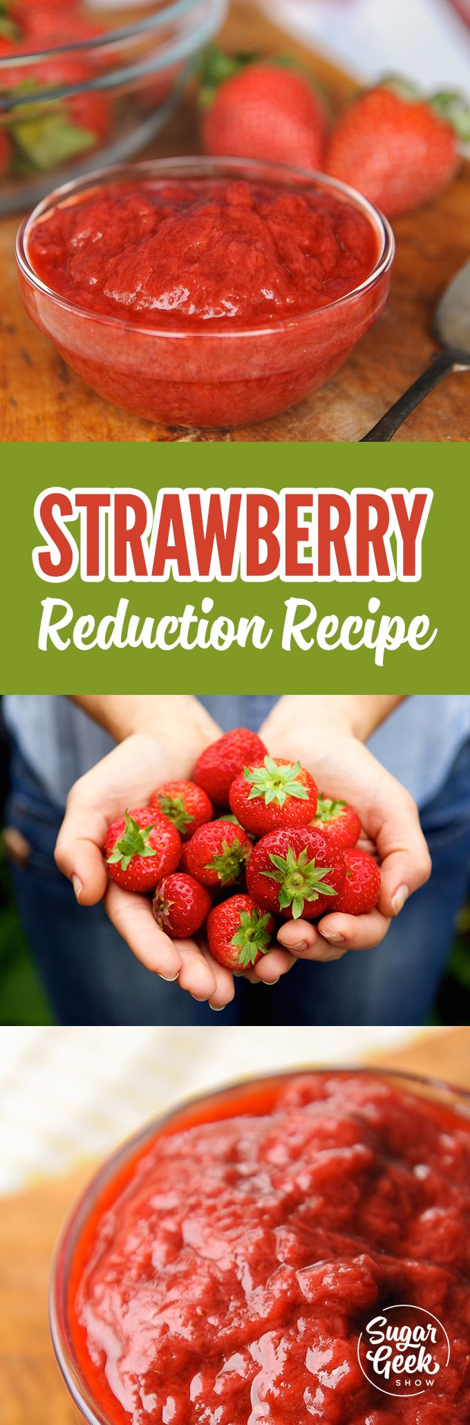 Easy strawberry reduction recipe Strawberry reduction is when you take fresh or frozen strawberries and heat them to reduce the amount of liquid. You might do this to make a puree to use as a topping, to add into cake batter or even for buttercream. The best thing about making a strawberry reduction is that it keeps all the flavor of the strawberries without adding extra moisture.