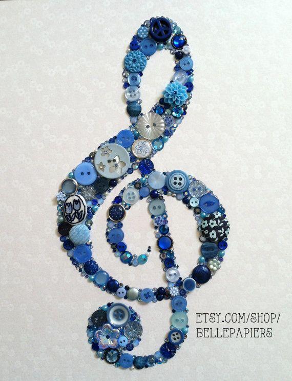 8x10 Treble Clef Button Art Swarovski Rhinestones Musician Gift Custom Wall Art