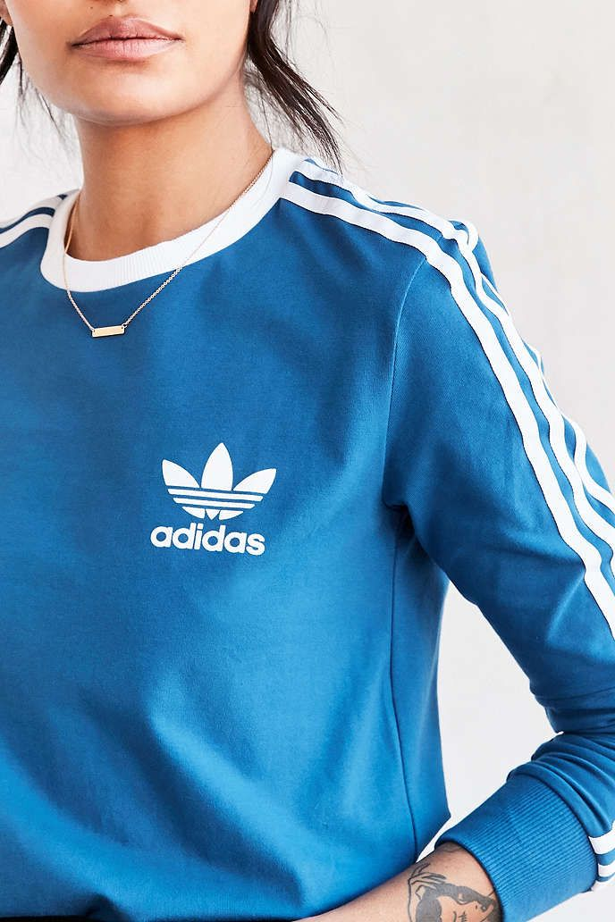 adidas Originals 3 Stripes Long-Sleeve Tee - Urban Outfitters