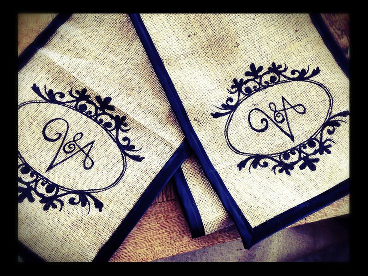 Custom hand Painted Monogram Hessian Table Runner with Black Satin Trim. Email info@ivyinspired.co.nz for quote