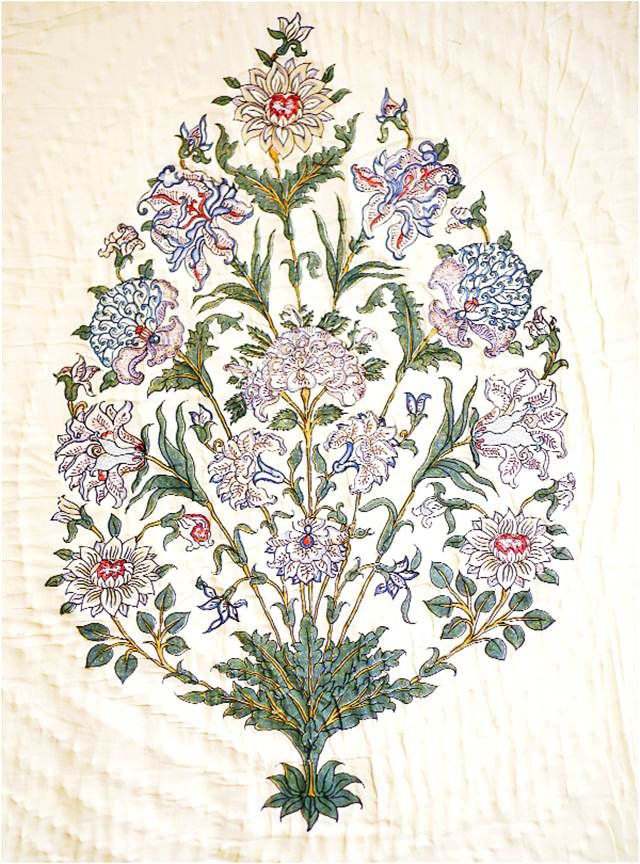 Jaipur Bouquet with chrysanthemums, lilies, roses and dahlias. Block print by Brigitte Singh