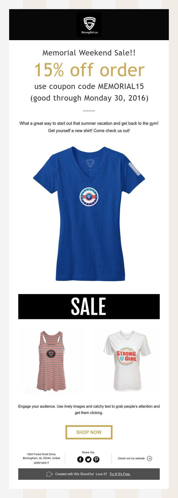 15% off Memorial Weekend Sale!!