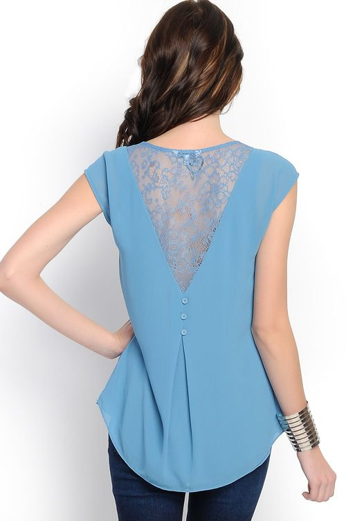 Lace Maggie Top in Blue | Awesome Selection of Chic Fashion Jewelry | Emma Stine Limited