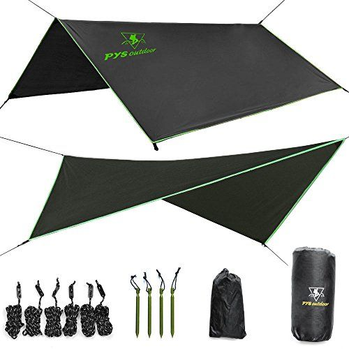 Hammock Rain Fly - Tent Tarp for Camping. Essential Survival Gear. Stakes Included. Compact, Lightweight. Fast Easy Setup. Made from 210T Ripstop Polyester Taffeta (10' (L) x 10' (W)) - MULTIPLE USES Camping Rain Shelter | Shade | Wind Break Backpack Tent Tarp Hammock Rain Fly RAIN FLY PACKAGE (INCLUDES EVERYTHING YOU NEED) 1 X Rain fly/ Tent tarp 6 X 3 meter ropes 6 X Rope tensioners 4 X Aluminum tent stakes 1 X Small stuff sack for ropes, tensioners, and stakes 1 X Big stuff s...