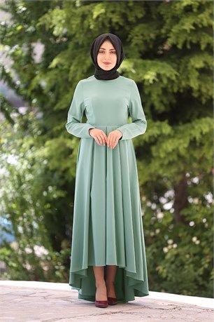 İroni - Önü Kısa Arkası Uzun Tesettür Elbise - 5071 - Çağla Yeşili