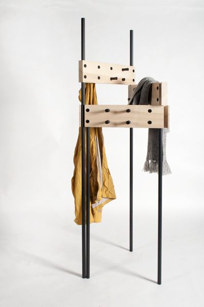 The modern industrial look for a clothes valet, lol.  grundwiebodendesign