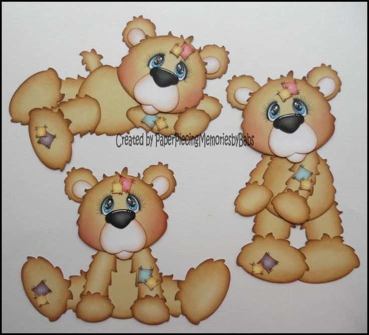 Premade Bears Paper Piecing Set for Scrapbook Pages-By Babs