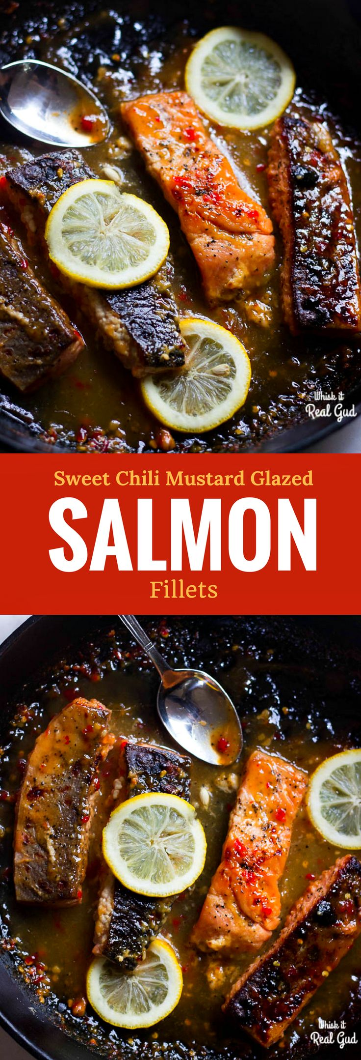 Boldly flavored, flaky, crispy skin salmon fillets with sweet Thai chili mustard glazed  sauce! Best thing ever! Gluten free.