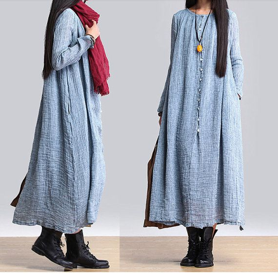 women maxi dress linen dress long sleeve dress linen by customsize