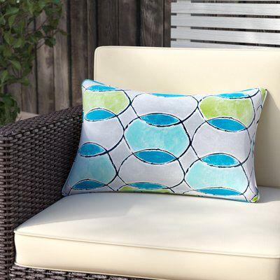Dahlia Printed Circles 3M Scotchgard Outdoor Oblong Lumbar Pillow