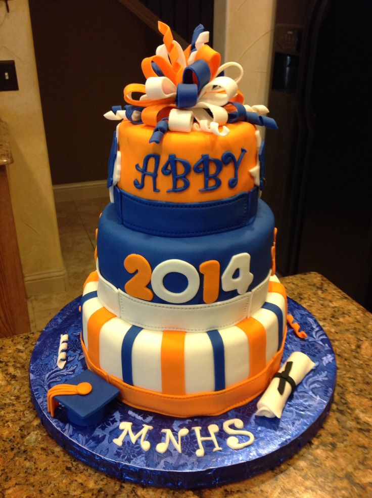 Mckinney North High School Grad Cake Bulldogs Orange And