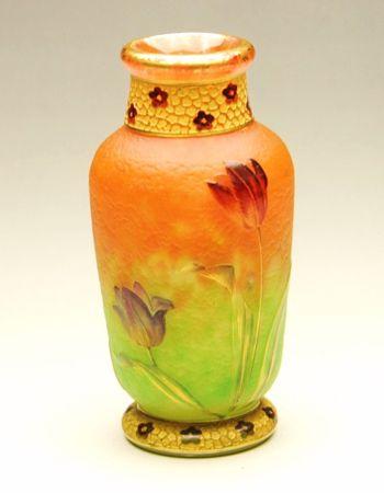 Vase from Daum studio in Nancy, Frnace, during the Art Nouveau era