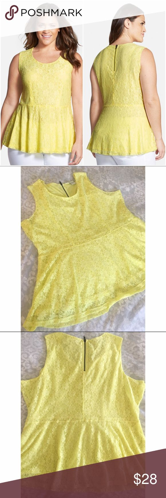 [ junarose ] Sleeveless Lace Peplum Top 💛 Absolutely pretty & adorable! Bright and soft, this Nordstrom top is the perfect pop of color. Lined and semi-sheer. I love that the peplum is on the longer side-- 12 inches --and gently flows down from the waist. The zip in the back adds interest and a little sass. 😉 Only worn once & in just like new condition. Measures 30 inches from shoulder to hem. A note on sizing: Tag says 'XXL' but also 'USA 3X'. Nordstrom website says 'XXL= 22W-24W' which I…