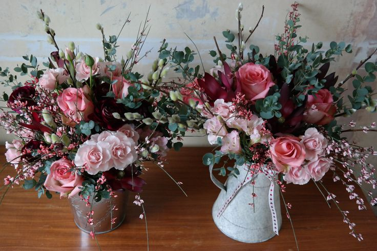Pink springtime wedding flowers
