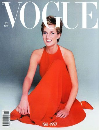 Princess Diana in red Valentino dress on the cover of US Vogue, October 1997