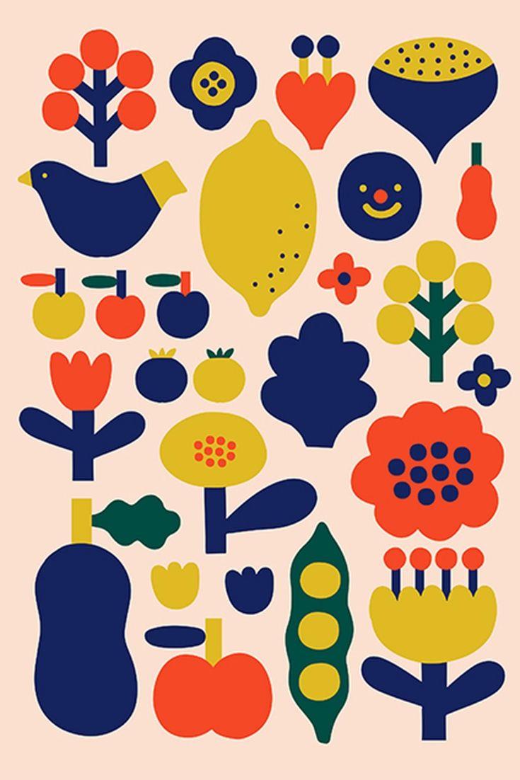 Scandinavian Folk Art Print Nordic Wall Art Minimalist Etsy Scandinavian Folk Art Pattern Art Scandinavian Art