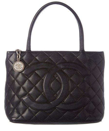 Chanel Chanel Black Quilted Caviar Leather Medallion Tote