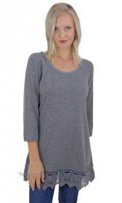 Chicago Shirt Extender With 3/4 Sleeve & Crochet Hem In Gray Monoreno, monoreno clothing, monoreno top,