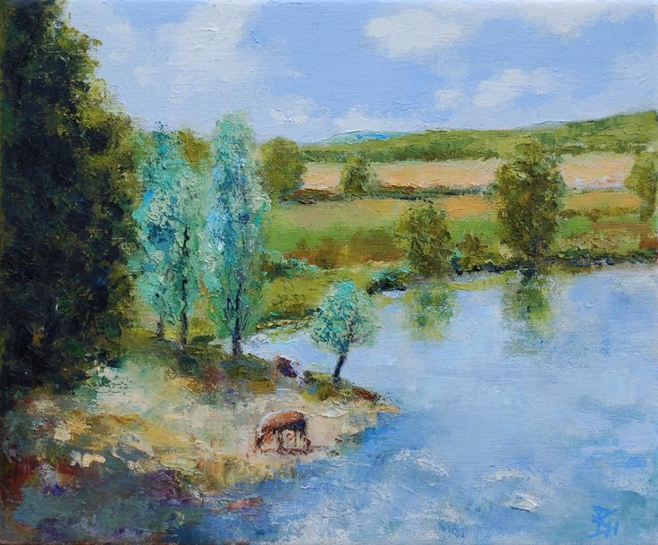 From The Bridge At La Truchere, Oil painting by Brian Hanson | Artfinder