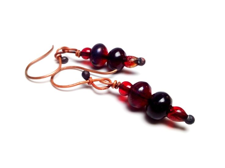 Copper Earrings with Red Fused Glass Beads Beach Glass Earrings Melt Glass Beads Earrings Red Glass Earrings with Copper Wire Summer Jewelry by mssdelilah on Etsy