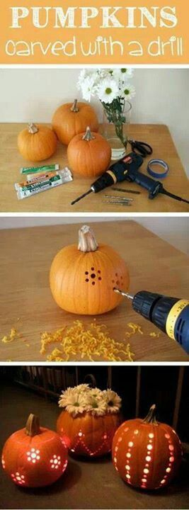 Pumpkins carved with drill