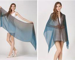 Luxusný hodvábny šál modro-čiernej farby, rozmer 185 x 68 cm .