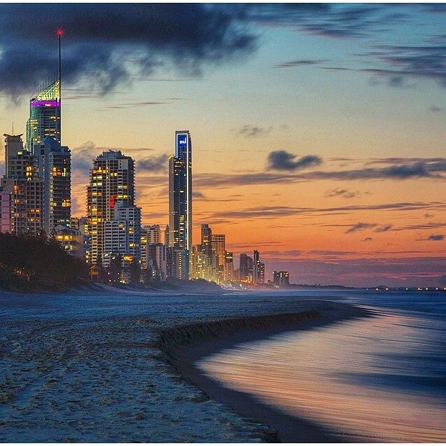 Broadbeach, Gold Coast sunset with @mobergphotos #visitgoldcoast