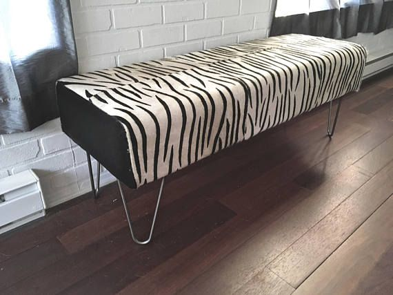 AB FAB New Genuine Hair On Zebra Pint Cowhide BENCH Ottoman Awesome Design