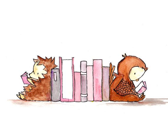 BookEnd Buddies.   childrens art print kids room by ohhellodear, $20.00