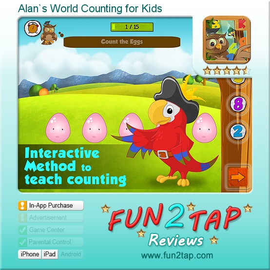 Alan`s World Counting for Kids - Counting fun for pre-schoolers. Full review at: http://fun2tap.com/index.cfm#id2197 --------------------------------------  #kids  #apps #KidApps #iosApps  #education #edtech  #parenting #tech #education #homeschool #edtech #mlearning #ipad #mobilelearning