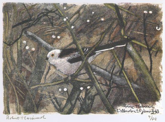 Mésange à longue queue et gouttes de pluie 1987, Allondon (Genève) Robert HAINARD Oiseaux