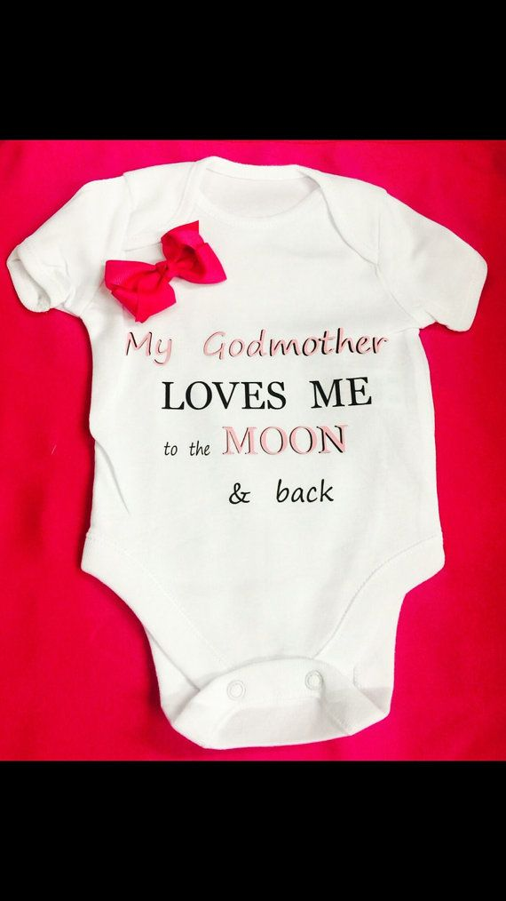 Moon & back or Godmother 1 x onesie bodysuit or by BABYGROWSTREET