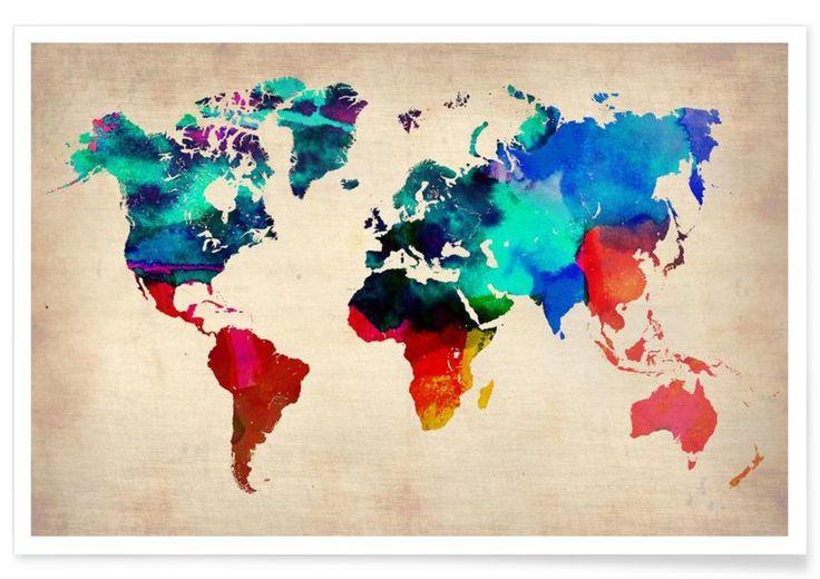 World Watercolor Map als Premium Poster door Naxart | JUNIQE
