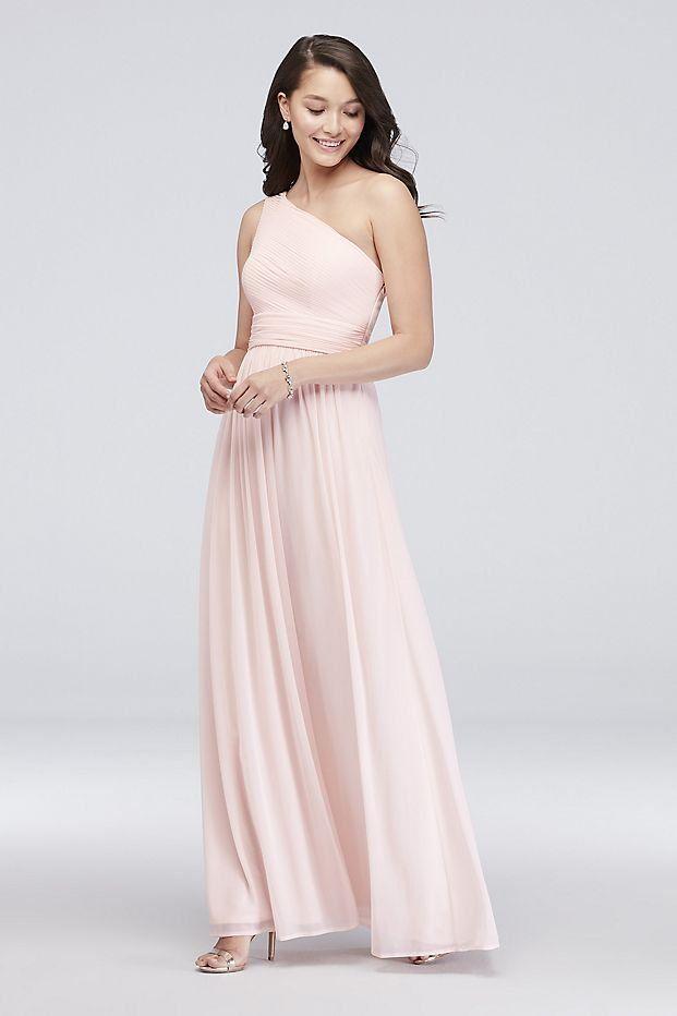 b123f512 Micro-Pleated Mesh One-Shoulder Bridesmaid Dress | David's Bridal | Pink  bridesmaid dress, affordable bridesmaid dress